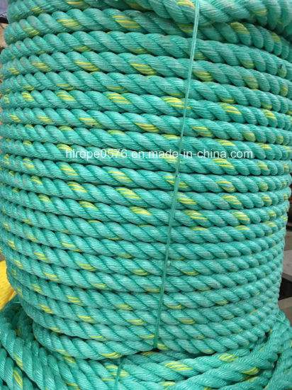 3 Strand 16mm PP Nylon Braided Green Rope Fishing Rope