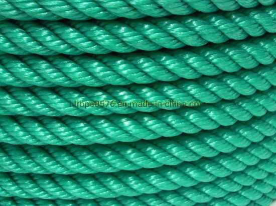 Green 3 Strand Hawser Polypropylene Polysteel Marine Towing for Mooring Rope
