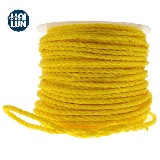 3 Strands Yellow PE Boat Rope in Roll or Coil
